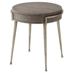 Theodore Alexander Hillsdale Spazzolato Legs Cerused Oak Round Side End Table | Kathy Kuo Home