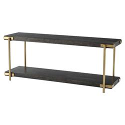 Theodore Alexander Modern Milan Black Wood Gold Metal Low Console Table | Kathy Kuo Home