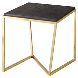 Theodore Alexander Modern X Square Gold Metal Brown Wood Side Table | Kathy Kuo Home