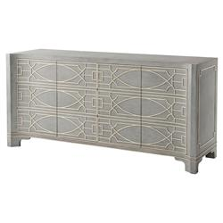 Theodore Alexander Morning Room Vintage Blue White Fretwork Sideboard | Kathy Kuo Home