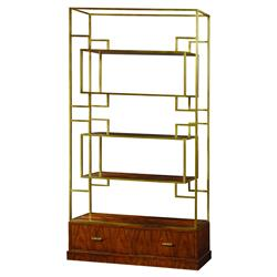Theodore Alexander Patterns in Brass Walnut Brass Geometric Etagere Bookcase | Kathy Kuo Home