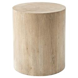 Theodore Alexander Sawyer Reclaimed Oak Veneer Round Side End Table | Kathy Kuo Home