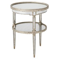 Theodore Alexander Starlight Regency Silver Leaf Round 2 Tier Side End Table | Kathy Kuo Home