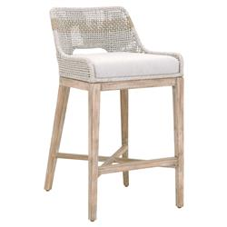 Theodore Modern Classic Grey Woven Fixed Cushion Mahogany Bar Stool | Kathy Kuo Home