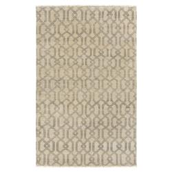Theon Coastal Charcoal Grey Beige Trellis Wool Rug - 4x6 | Kathy Kuo Home