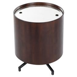 Thomas Bina Baker Mid Century Modern Glass Wood Iron Round Side End Table | Kathy Kuo Home