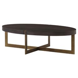 Thomas Bina Bryan Modern Classic Oval Wood Top Gold Base Coffee Table | Kathy Kuo Home