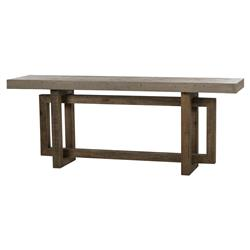 Thomas Bina Cube Rustic Lodge Pine Concrete Console Table | Kathy Kuo Home
