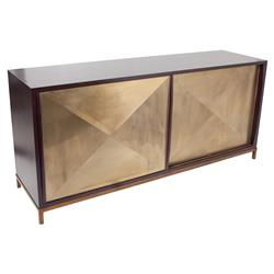 Thor Dark Brown Sliding Gold Door Oly Cabinet | Kathy Kuo Home