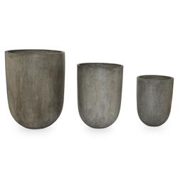Thorn Industrial Rounded Slate Concrete Planter - Set of 3 | Kathy Kuo Home