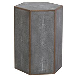 Thorne Regency Charcoal Faux Shagreen Hex End Table | Kathy Kuo Home