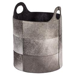 Tibbs Rustic Lodge Grey Hide Round Floor Basket | Kathy Kuo Home