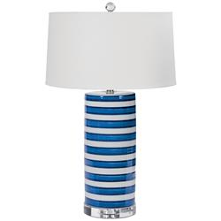 Tilden Coastal Beach Classic Blue Stripe Ceramic Table Lamp | Kathy Kuo Home