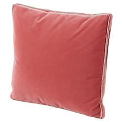 Tildy Classic Linen Coral Pink Velvet Pillow - 22x22 | Kathy Kuo Home