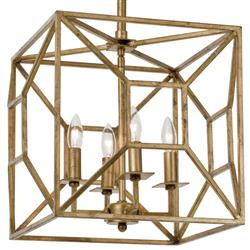 Tippi Hollywood Regency Gold Leaf Geo Cage 4 Light Chandelier | Kathy Kuo Home
