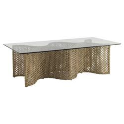 Tommy Bahama Aviano Modern Glass Brown Wicker Rectangular Outdoor Coffee Table | Kathy Kuo Home