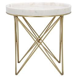 Toni Brass Pin White Stone Tray End Table | Kathy Kuo Home