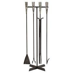 Toole Industrial Hand Forged Iron Fireplace Tool Set | Kathy Kuo Home