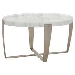 Toriana Modern Classic White Stone Antique Silver Oval Coffee Table | Kathy Kuo Home