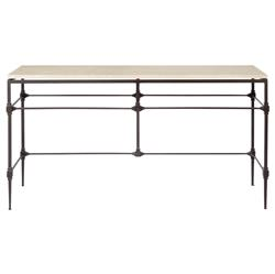 Tory Modern Classic Honed Travertine Aged Iron Console Table | Kathy Kuo Home