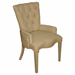 Toulouse French Country Pine Linen Tufted Arm Chair | Kathy Kuo Home