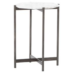 Tovar Industrial Loft White Marble Grey Iron Side Table | Kathy Kuo Home