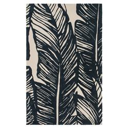 Tovere Coastal Black Palm Leaves Outdoor Rug - 2'x3' | Kathy Kuo Home