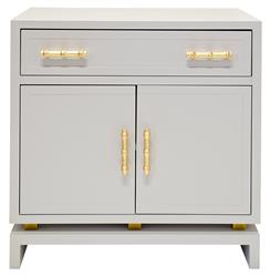 Tracey Hollywood Regency Grey Lacquer Nightstand Cabinet | Kathy Kuo Home