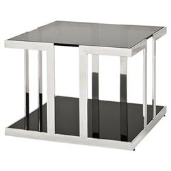 Treasure Modern Classic Polished Stainless Square Side End Table | Kathy Kuo Home