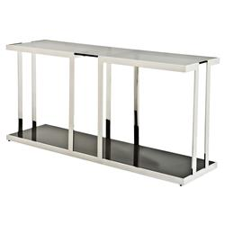 Treasure Modern Classic Smoked Black Glass Rectangular Console Table | Kathy Kuo Home