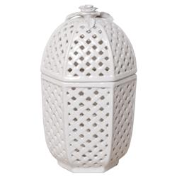 Trellis White Glazed Ceramic Container - 15H | Kathy Kuo Home