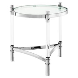 Trento Modern Classic Polished Stainless Round Side End Table | Kathy Kuo Home