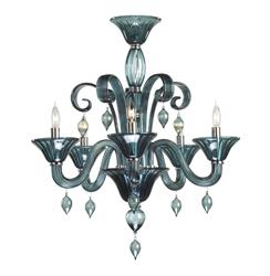 Treviso 5 Light Dark Blue Smoke Murano Glass Style Chandelier