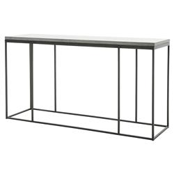 Trevor Industrial Loft Grey Bluestone Iron Console Table | Kathy Kuo Home