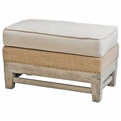 Trey Coastal Beach Linen Burlap Distressed Rustic Ottoman | Kathy Kuo Home