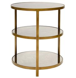 Trilogy Hollywood Regency 3 Tier Bronze Antique Mirror Side Table | Kathy Kuo Home