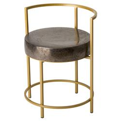 Tripp Modern Gold Gunmetal Ceramic Outdoor Chair | Kathy Kuo Home