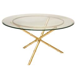 Tristanna Hollywood Regency Bamboo Gold Glass Coffee Table - 30 Inch | Kathy Kuo Home