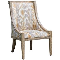 Tropez Coastal Beach Patterned Driftwood  Chair | Kathy Kuo Home
