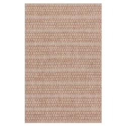 Tulum Global Rust Red Beige Pattern Outdoor Rug - 3'11x5'10 | Kathy Kuo Home
