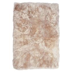 Turan Modern Toasted Almond Long Wool Fur Rug - 8 x 11.5 | Kathy Kuo Home
