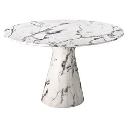 Turner Modern Classic White Marble Round Pedestal Dining Table | Kathy Kuo Home