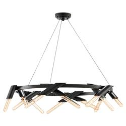 Tuvin Industrial Loft Round Black 12 Tube Light Chandelier | Kathy Kuo Home