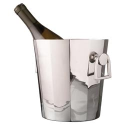 Tuxedo Hollywood Regency Silver Modern Deco Ice Bucket Wine Cooler | Kathy Kuo Home