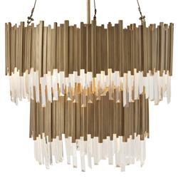 Tyrol Hollywood Regency Vintage Brass Stacked Rods Two Tier Chandelier | Kathy Kuo Home