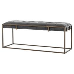 Ulysses Industrial Lodge Tufted Brown Leather Antique Brass Bench | Kathy Kuo Home