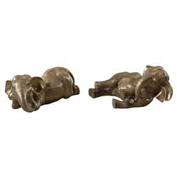 Under the African Sun Global Bazaar Brass Rolling Elephants | Kathy Kuo Home