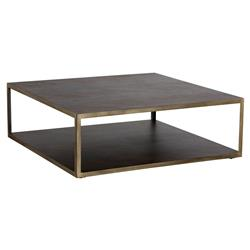 Underhill Modern Classic 2 Tier Brown Wood Brass Square Coffee Table | Kathy Kuo Home