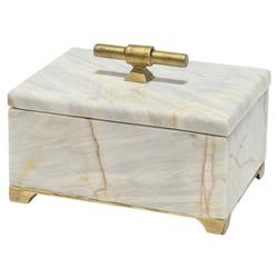 Valmont Regency Gold Iron Marble Decorative Box - S | Kathy Kuo Home