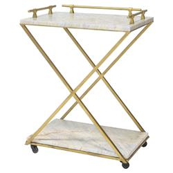 Valmont Regency Gold Iron Natural Marble Bar Cart | Kathy Kuo Home